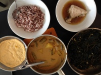 Our simple lunch - pork curry with lady fingers, sweet potato leaves, chawanmushi-went-wrong, and garlic chicken.