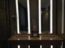 Double sinks with lighted make-up mirror.