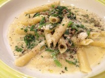 Cream Sauce Pasta with Veal Ragout.