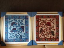Batik paintings from Yogyakarta with customized linen frames from Jakarta.
