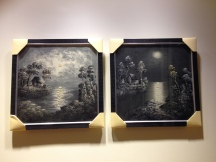 Handpainted oil paintings from Bandung with customized black wooven frames from Jakarta.