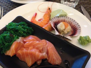 Can never tire of salmon sashimi.