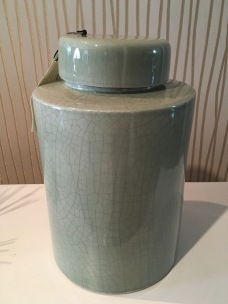 Jade ceramic jar.