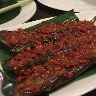 Brinjal Panggang (grilled egg plant with red chilli).