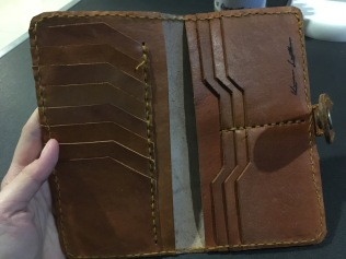 Interior of long wallet.