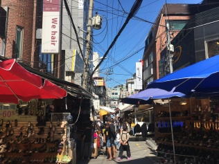 Stalls lining Ewha Woman's University Shopping Street.